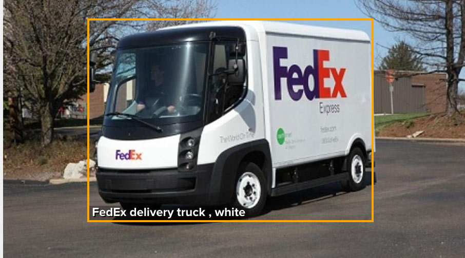 FedEx delivery truck recognized from front view